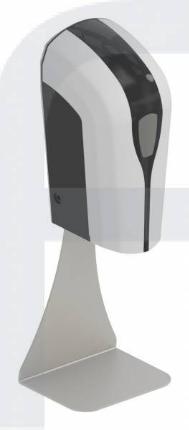 DESINFEKTIONSMITTELSPENDER TOUCHLESS, Tischgerät, auf Edelstahlsäule